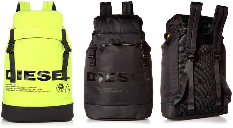 DIESEL ディーゼルリュックサック デイパッグイエロー ブラックロゴタウンユースバックパックWベルトバックル ドローコード被せトップ ブレイブマンロゴBACKPACK H5221YEHH5067BK7216ORかばん バック 鞄 カバン