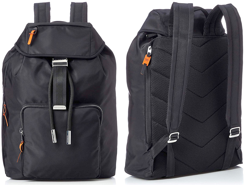 DIESEL ディーゼルリュックサック デイパッグサイドビックブラックロゴコの字型ファスナージップフロントファスナーポケットタウンユースバックパックオレンジアクセントジッパープルBACKPACKT8013BK かばん バック 鞄