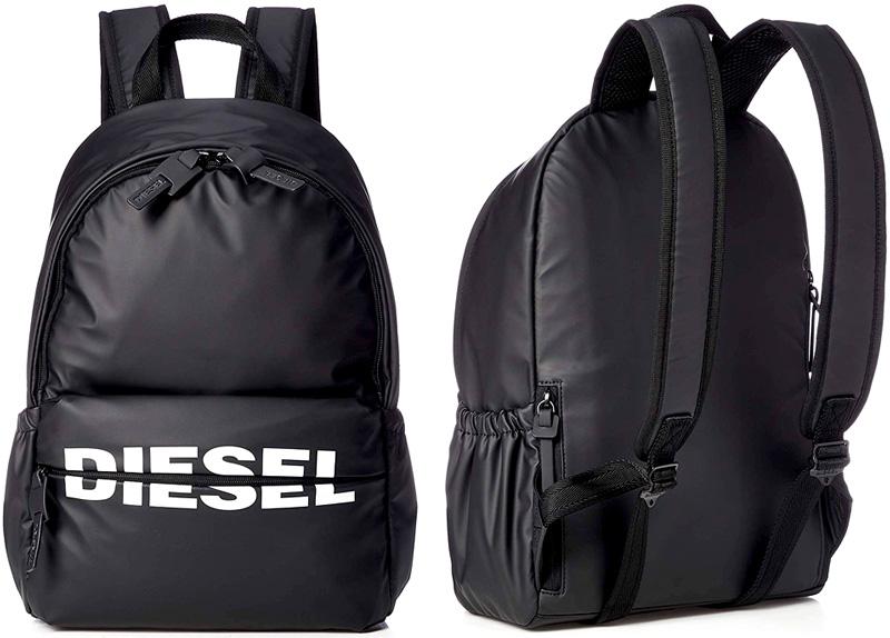 DIESEL ディーゼルカラーコントラストロゴリュックサック デイパッグジップフロントファスナーポケットタウンユースバックパックジップディバイドホワイトロゴBACKPACKT8013BKかばん バック 鞄 カバン