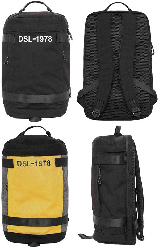 DIESEL ディーゼルリュックサック デイパッグDSL-1978ロゴタウンユースバックパックブラック イエロー×グレー インナーポケットカラーブロック コーデュラナイロンBACKPACKH7665YE8013かばん バック 鞄 カバン