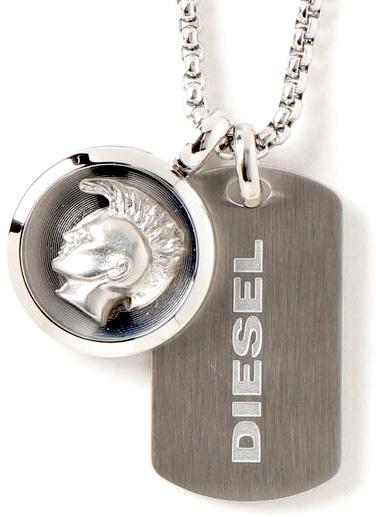 DIESEL ペンダントネックレスディーゼル シルバードッグタグ3Dブレイブマンコインロゴプレートアクセサリー メンズ レディースビンテージミリタリーテイストPENDANT Unisex Stainless Steel Necklace