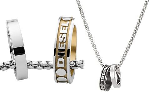 DIESEL ダブルリングネックレスディーゼル ペンダントブラック×立体ロゴ シルバー ゴールドサイディングロゴ指輪チャームトップWリング アクセサリー メンズ レディースブレイブマンロゴボタンエンドチェーンネックレス