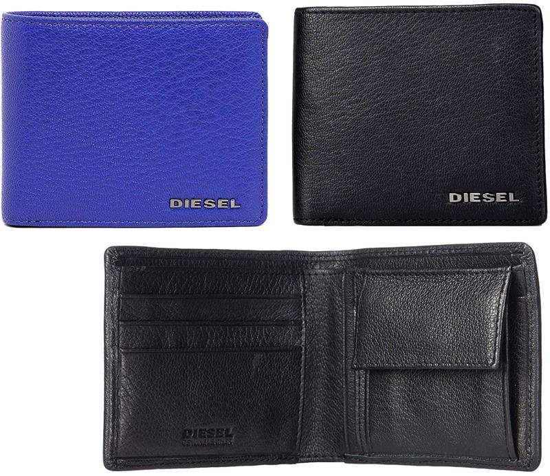 DIESEL ディーゼル小銭入れ付き2つ折り財布メタルロゴ ブラック ブルー二つ折り財布 ウォレットナチュラルエンボスシボT8013T6047BL HIRESHS
