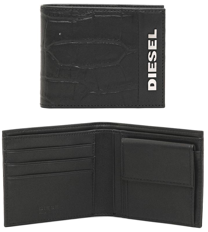 DIESEL ディーゼル メンズ 小銭入れ付き二つ折り財布ワイドメタルロゴブラック クロコ型押しレザーHIRESH SMALL T8013BKさいふ サイフ ウォレット パース2つ折財布 ハイレッシュスモール