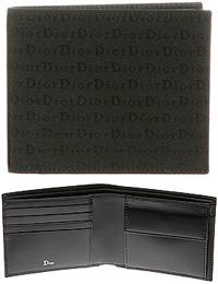 DIOR HOMMEディオールオム小銭入れ付き2つ折り財布メンズ ロゴキャンバス2つ折り財布 ブラックさいふ サイフ 財布