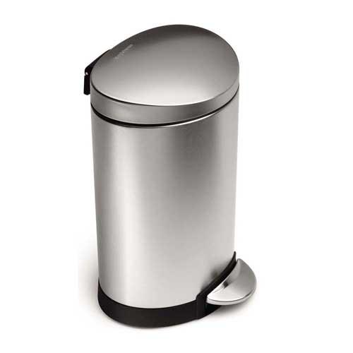 半円筒形ごみ箱 セミラウンドカンシルバー ホワイト ブラックブロンズsimplehumanゴミ箱 ダストボックス 40L 30L 10L 6Lインナーバスケット付きで簡単洗浄可能!取っ手付きで持ち運び便利&汚れが付きにくい表面コーティングシンプルヒューマン