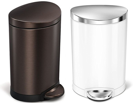 半円筒系のごみ箱セミラウンドカン 40L 10L 6L ホワイト FPPシンプルヒューマン simplehumanゴミ箱 ダストボックスインナーバスケット付きで簡単洗浄可能!取っ手付きで持ち運び便利&汚れが付きにくい表面コーティング