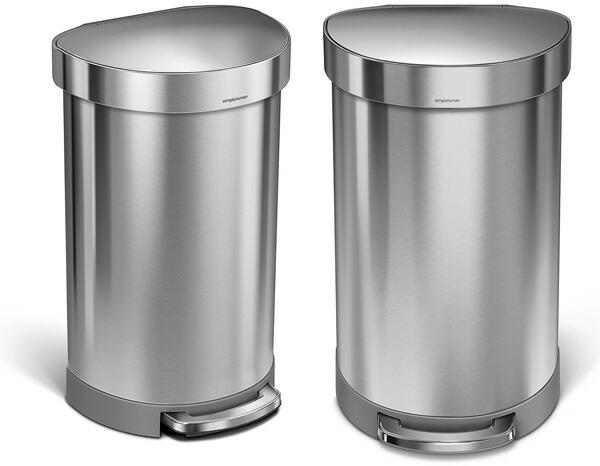 キッチンやダイニングの壁に添えるスマートデザイン汚れが付きにくい表面加工丸みのあるセミラウンドフォルムペダルビン半円型大容量ごみ箱 45L両手がふさがっている時に便利なペダル式半円ゴミ箱 汚れが付きにくい表面加工