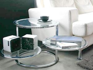 スイングラウンドガラステーブル昇降天板タイプキャスター付き回転トレー棚1枚タイプ回転トレー棚2枚タイプカフェテーブル円盤 リビングテーブルシンプルに纏めたり大きく広げたり気分で存在感を創造!スイブル トローリー