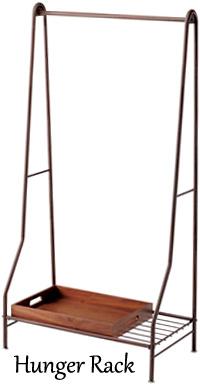 棚付きハンガーサスペンダーラック&ウッドボックスアウトスタンディングハンガーラックシェルフ 収納棚 木製机 ダークブラウンカーブエッジ加工 Q7517-WN ウォールナット衛門掛け コートハンガー 棚箱付きでブーツや靴なども置ける