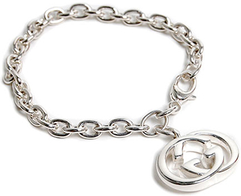 Gucci By Bracelet Double G Link Chain Mens Womens Uni 190501 J8400 925sv 8106 Silver Round Interloc King