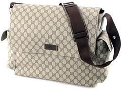 GUCCI グッチ メッセンジャーバッグマザーズバッグコーティングGGキャンバス GGプラスベージュ×ダークブラウン ベージュ×ネイビーFCIGGKGDIG8588 FP48N4075サイドポケットショルダーバッグ鞄 かばん カバン BAG
