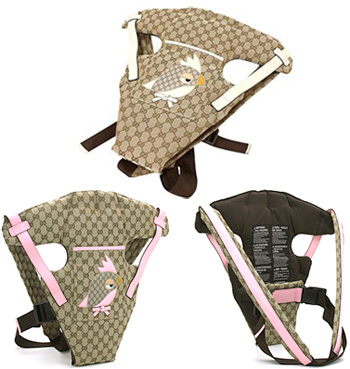 GUCCI Gucci GG fabric hug strap GUCCI ZOO applique bird baby carrier fabric  × ( cowhide ) leather beige GG x white beige GG x pink 270793 FW9BN8630  8631 ...