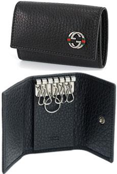 GUCCI グッチ型押しカーフ 6連キーケースウェビングライン インターロッキングG金具 型押しレザーブラック(金具:アンティークシルバー) チェルシー ダブルG キーホルダーA7MMN1060 シボ加工ARU0NBK メンズ レディース ユニセックス