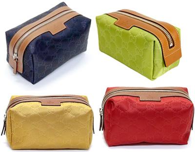 131cf38c257d9e Gucci cosmetic pouch GUCCI wristlet GG pattern nylon * textured leather  dark brown GG 2044 logo ...