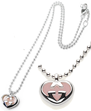 09d29fd79f1 GUCCI Gucci pendant necklace love Britt interlocking heart charm sterling  silver x pale pink ladies Double G heart 259051 08859 9172 side classic  logo ...