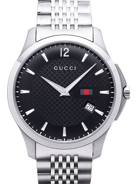 a7ff51a99c1 GUCCI Gucci watch date display with analog mens watch G timeless mens black  silver stress belt black dial collection diamond pattern dial ragujareslim  dress ...