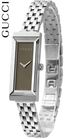 e0ffa43b24a GUCCI Gucci ladies watch rectangle version G frame collection watch mirror  dial Brown   silver analog stainless steel belt length square face working  women ...
