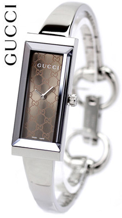 ba2ea16cecb GUCCI Gucci ladies watch rectangle version G frame collection watch mirror  dial Brown x silver shiny brown GG pattern analog stainless Bangle belt  length ...