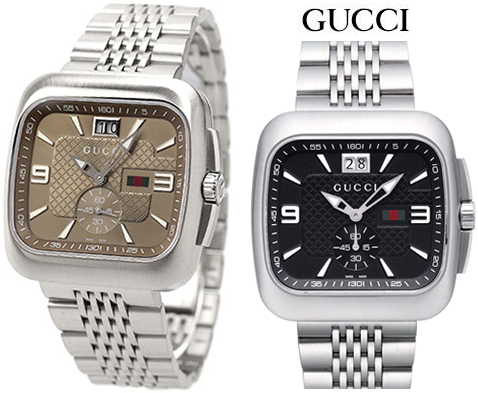 GUCCI Gucci men\u0027s watch small seconds and date with with round square face  analog mens watch Coupe big date Black Brown diamond pattern silver stress