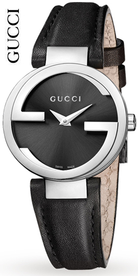 a000ed9a526 GUCCI Gucci ladies watch round interlocking collection leather band ladies  watch GG frame black x Silver Dial analog leather belt Interlocking-G Ladies  ...