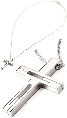 8187a9ef1 GUCCI Gucci cross pendant necklace logo engraved cross cutout cross G  pendant 8400 8106 mens Womens