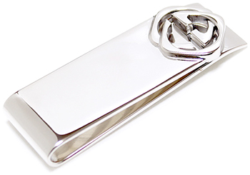 GUCCI グッチ マネークリップスクエアインターロッキングロゴお札クリップ 裏面ロゴ刻印 シルバー 8106SLサイフ 財布 さいふMONEY CLIP