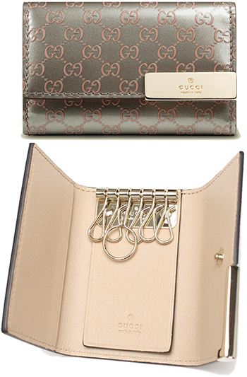ea131a4bb4df GUCCI Gucci 6 key case micro guccissima leather edge logo engraved plate die  patent calf leather Keychain light gold grey x light pink leather ...