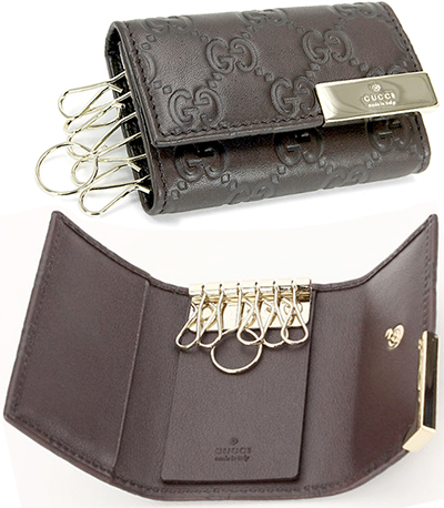 8a5feec84ad8 ... GUCCI Gucci 6 key holder guccissima leather edge logo engraved plate  die calf leather Keychain Brown