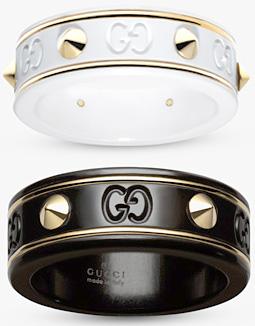 GUCCI GG ICON RING Studdedグッチ スタッズアイコンリングGGアイコン 18Kイエローゴールドバインドラインホワイトジルコニアパウダー コランダムブラック8062WH 8029BK メンズ レディース男女兼用 ペアリングとして