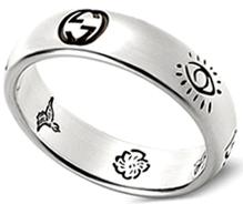 GUCCI グッチ リングインターロッキングロゴ シルバーリングBlind for Loveマルチイラスト バード フラワー アイ ハートメンズ レディース 男女兼用RING 0701ペアリングとしてもオススメスターリングシルバーシンプルエングレービング指輪