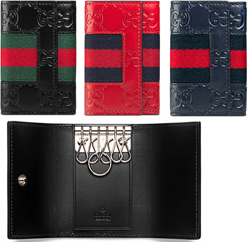 7d8331021a8 GUCCI Gucci guccissima leather 6-key case Wide Web lines embossed inside  signature Web stripe red black Dark Navy Heat Emboss processing key ring  Web 6473RE ...