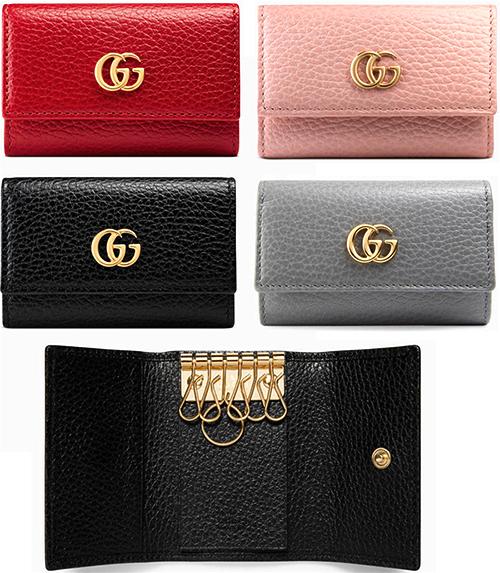 Gucci Gucci Mini Gg Logo 6 Key Case Stamped Logo Gg Put Marmont Black Red