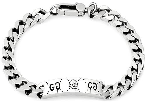 ada3505c7 GUCCI Gucci bracelets diamantissima logo engraved bar Palladium coating red  green enamel BRACELET 8518 sterling silver
