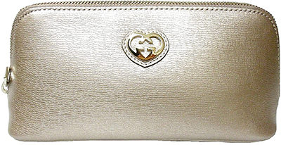 8c8a40ccd GUCCI Gucci cosmetic pouch wristlet cozy porch interlocking GG heart logo  shiny leather black red 338190 ...
