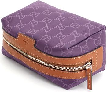324022c59 ... Gucci makeup porch GUCCI accessory case GG pattern nylon X beefsteak  Chard leather dark brown GG ...