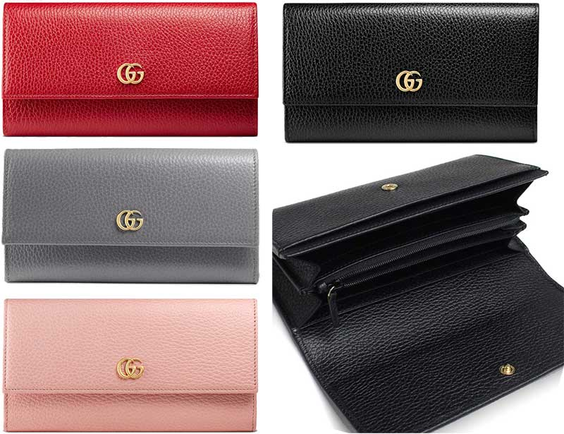 ed758ed4233 ... グレー 1711GY6433RE5909LPK1000 Continental wallet gold tone double G tex  Chard leather PETITE MARMONT snap closure with the GUCCI Gucci coin purse