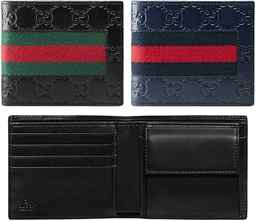 5501a84e46d3 Two folio wallet Web line Gucci sima leather black dark navy-blue green red  GG icon WEB LINE 8497NV1060 signature Web stripe leather Web coin wallets  fold ...