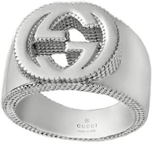 GUCCI グッチ シルバーリングインターロッキングG 指輪ダブルG ギザギザエッジSILVER RING 8106SLシンプルロゴ刻印メンズ レディース 男女兼用ペアリングとしてもOKWIDE #0624