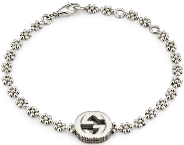 21d6d3bdd GUCCI Gucci chain bracelet interlocking grip G plate logo Giza side sterling  silver flower motif Bour