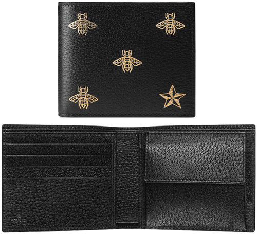 c62dc218663 It is extreme popularity gold B & star by a present in two fold wallet  Blackford side logo bee 8474BK folio wallet calfskin leather bee & star  wallet ...