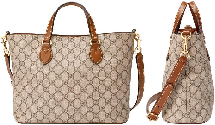 885bd260fd2f5c GUCCI Gucci 2WAY tote bag beige X brown handbag software GG  スプリームコーティングキャンバスショルダーバッグ bag bag BAG disassembly shoulder strap brown ...