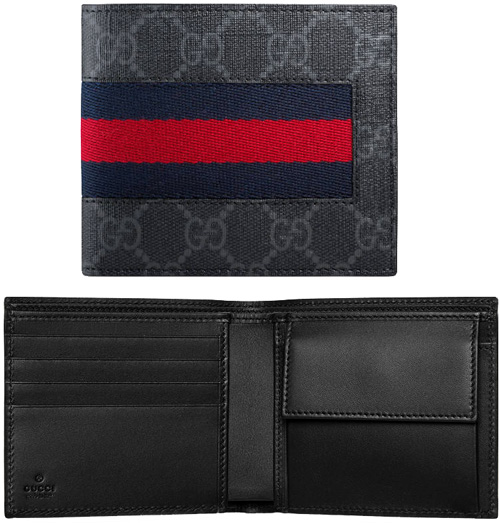 09ab6c6ca12 Two folio wallet GG スプリームニューウェブコーティングブラックキャンバスダークグレーネイビーブルー X red line
