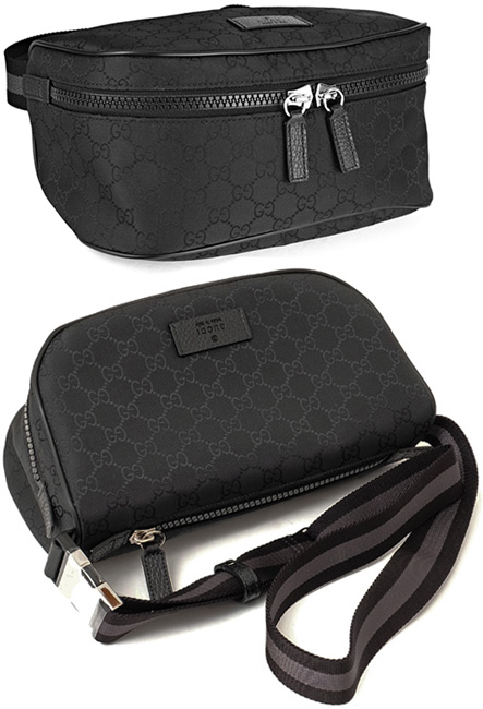535e8f6e8dee GUCCI Gucci hips bag GG nylon dark gray X black emboss logo leather tag  waist porch body bag front desk W fastener pocket belt bag black leather  trim cross ...