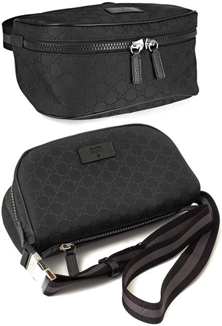 99423c8dfce17 GUCCI Gucci hips bag GG nylon dark gray X black emboss logo leather tag  waist porch body bag front desk W fastener pocket belt bag black leather  trim ...