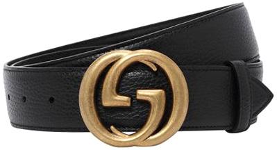 GUCCI グッチ メンズインターロッキングGバックル 型押しレザーベルトブラック アンティークゴールドスーツに似合うデザインですカーフスキンレザーダブルG ラウンドバックル1000BKGGモチーフバックル