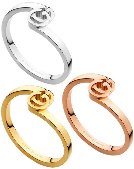 GUCCI グッチ GGリング ホワイトゴールド ピンクゴールド イエローゴールド18K レディース メンズキメるアイテム 贈り物やプレゼントに 5702PGD8000YG9000WG指輪 ロゴ刻印 重ね着けできるデザイン