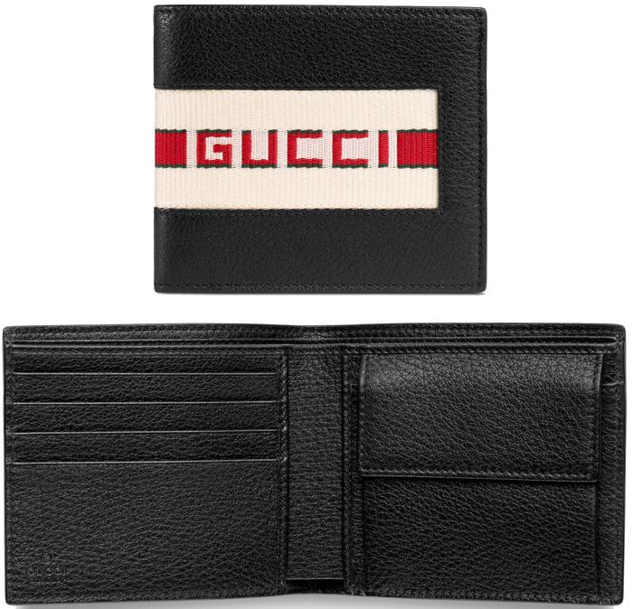 GUCCI グッチ小銭入れ付き2つ折り財布型押しブラックグレイニーレザージャカードストライプ グリーン&レッドロゴ 1094BK 二つ折り財布メンズにプレゼントで大人気型押し革 サイフ さいふ ウォレット