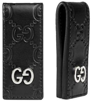 GUCCI グッチ マネークリップブラックソフトグッチシマレザーエンボスアイコンロゴお札クリップ サイフ 財布 さいふGG SIMMA SOFT 1000BKオーバルお財布を持つのが好きでない方にシグネチャー GGパターン バインド 札ばさみ