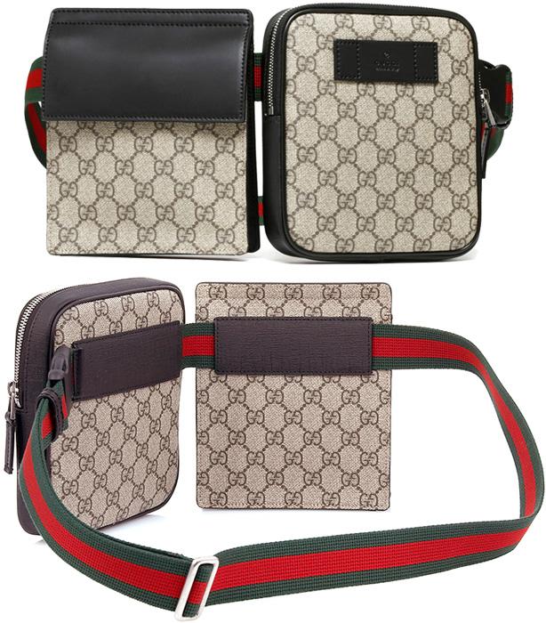 66853595f GUCCI Gucci hips bag emboss logo leather tag front desk W porch fastener &  flap pochette beige X dark brown Web line belt waist porch body bag black  leather ...